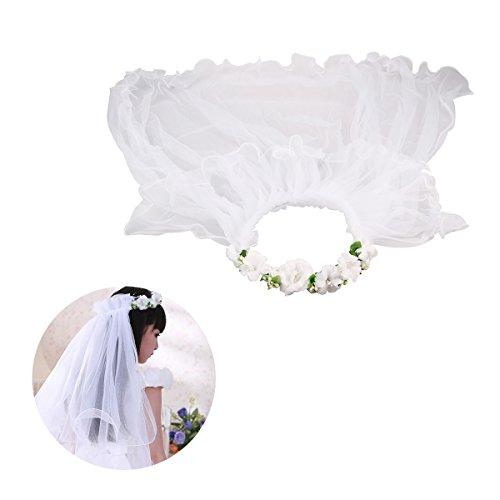 BESTOYARD Mädchen erste Kommunion Schleier Blume Schleier Kranz Hochzeit Blume Krone (weiß)