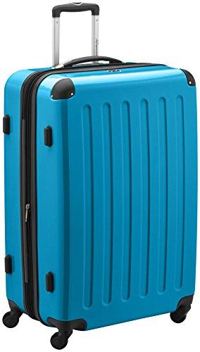 HAUPTSTADTKOFFER - Alex - Hartschalen-Koffer Koffer Trolley Rollkoffer Reisekoffer Erweiterbar, 4 Rollen, TSA, 75 cm, 119 Liter, Cyanblau