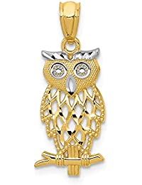 ICE CARATS 14kt Yellow Gold Owl Pendant Charm Necklace Bird Fine Jewelry Ideal Gifts For Women Gift Set From Heart
