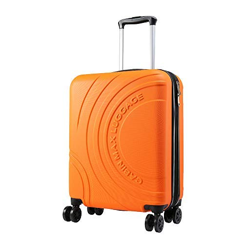 Cabin Max Velocity Trolley Rigido Cabin Size Leggero | Valigia con 4 Ruote in ABS Resistente 55x40x20 con Zip ESPANDIBILE a 55x40x25. Approvato per Voli Ryanair, EasyJet, BA (Siviglia Arancione)