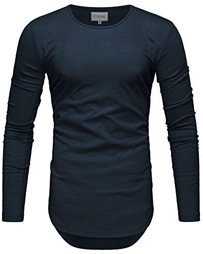 Crone Herren Langarm Shirt Longsleeve Slim Fit T-Shirt Leicht Oversize Basic Sweatshirt in vielen Farben (M, Navy)