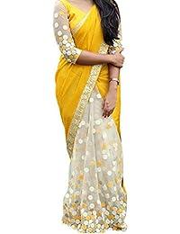 Kaavi Fab Women's Georgette Off White & Yellow Thread Work Designer Saree