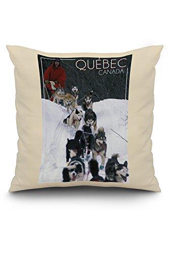 Quebec, Canada - Dogsled Scene (20x20 Spun Polyester Pillow case, White Border)