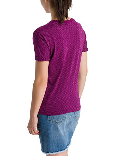 Bench Damen T-Shirt Logo Tee Stripes Violett (Plum Caspia + Metallic Stripe P1283)