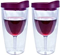 Southern Homewares Insulated Vino Double Wall Acrylic with Red Drink Through Lid Wine Tumbler (Set of 2), 10 oz, Merlot