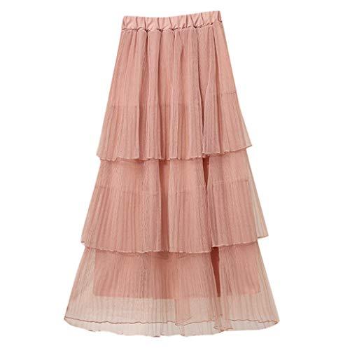 ODJOY-FAN 2019 Damen Rock Sommer Hohe Taille Mittellang Faltenrock Frauen Lange Tüllrock Swing Röcke Plissee Maxi Pleated Skirt(Khaki,One Size) - Khaki Pleated Skirt