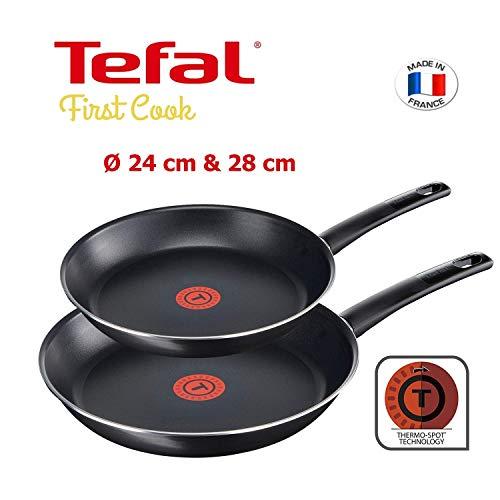 Antihaftbeschichtung Tefal First Cook Pfannenset 2 Teilig B43506 24 Und 28 Cm Titanium Force