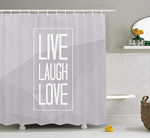 JIEKEIO Live Laugh Love Shower Curtain Greyscale Polygonal Pattern Background With Rectangular Frame Quote