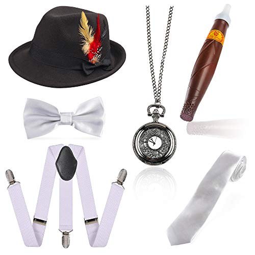 Beelittle 1920er Jahre Mens Gatsby Zubehör Set Trilby Manhattan Fedora Hut, Y-Rücken Hosenträger, Gangster Krawatten, Puff Zigarre, Vintage Taschenuhr (G)