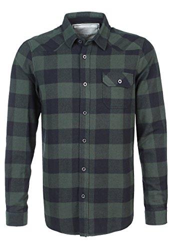 Urban Surface Herren Flanellhemd Langarm Kariert | Business- & Freizeithemd Aus Baumwolle Regular Fit Dark-Green L (Langarm Flanell Hemd Karo)