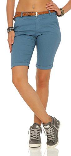 ZARMEXX Mujeres Bermuda Pantalones cortos con la correa pantalones de algodón Chino-Pantalones cortos flacos