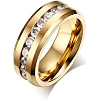 Yc Top Fashion matrimonio, in acciaio Inox, Zirconia cubica, placcato oro, 8 mm-Anello da uomo