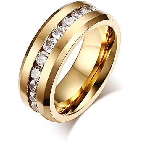 YC–Top fashion Anillos de Boda Acero Inoxidable Circonita Cúbica Chapado en oro 8mm Hombre anillo
