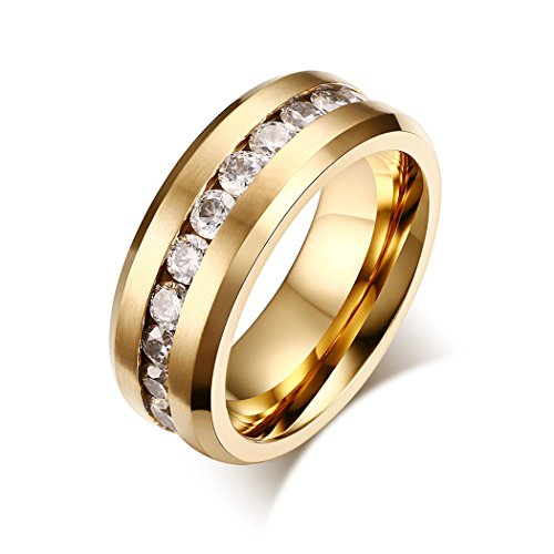 Yc Top Fashion matrimonio, in acciaio Inox, Zirconia cubica, placcato oro, 8 mm-Anello da uomo, acciaio inossidabile, 24,5, colore: oro, cod. Y-TPnjz04-11