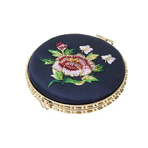 Sourcingmap, miroir de cosmétique avec cadre rond pour femme, bleu marine/doré