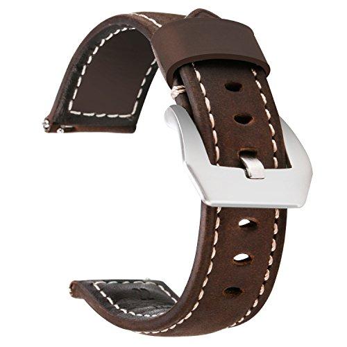 Greatfine Correa Reloj Cuero 20mm para Samsung Gear S2 Classic/Samsung Gear Sport/Huawei Watch 2 Sport/Garmin Vivoactive 3 / Reloj Tradicional/Reloj Deportivo/Reloj/Reloj Inteligente (Brown, 20 mm)