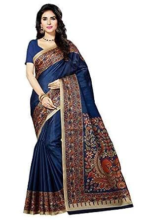 Rani Saahiba Women's Kalamkari Printed Art Bhagalpuri Silk Saree ( Skr3061_Navy Blue )