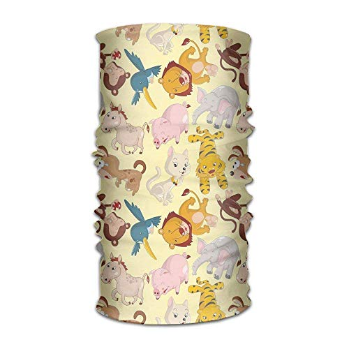 Preisvergleich Produktbild Women Men Turban Cartoon Animals Jungle Themed Design Monkey Pig Tiger Elephant Lion Horse Sparrow Get Together Headpiece