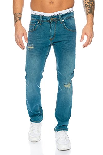 Rock Creek Herren Jeanshose Blau Herren Jeans Used-Look Straight-Cut LL-315