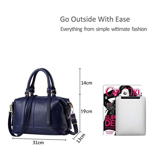 Honeymall Damen Tote Handtasche Soft Gewaschenem elegante hochwertige Henkeltasche Schultertasche(Silber) Blau
