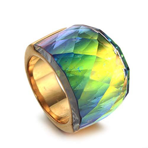 ZhongDa Ring, Europäische Und Amerikanische Männer Und Frauen Edelstahl Bunte Glas Edelstein Ring Titan Stahl Vintage-Schmuck (Männer Antiken Ring)