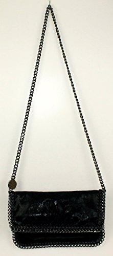 Pochette da donna, Lani, piccola, effetto pelle, glitter, effetto metallizzato, con catenella, Schwarz Glitzer Big (nero) - 1211161254 Schwarz Glitzer Big-2
