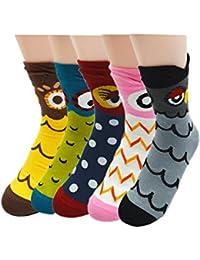 Vococal® 5 Paires Mesdames Les Femmes Filles Mélangés Couleurs Coton Hiver Cartoon Chouette Animal Style Chaussettes Tube