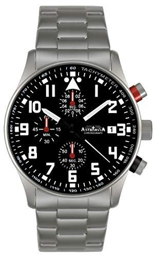 Astroavia Herren-Armbanduhr Chronograph Quarz mit Edelstahl Armband N99S