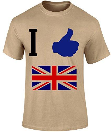 I Thumb Up Great Britain British UK Map United Kingdom Sport Slogan Men T-shirt - Grey, Sky Blue or Beige Colour Men T shirt