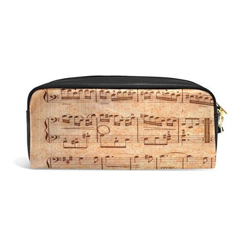 zzkko Vintage Musik Note Reißverschluss Federmäppchen Stift Stationäre Bag Kosmetik Make-up Tasche aus Leder