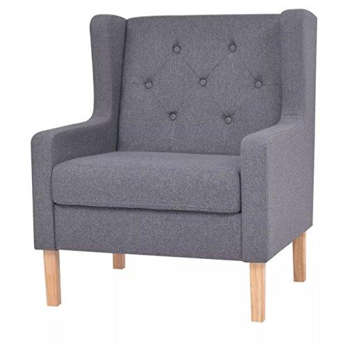 Festnight-- Sofa Stuhl Relaxsessel Stoff Grau 76 x 68 x 90 cm