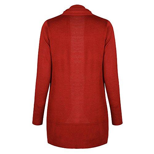 Vertvie Femme Cardigan Casual Chandail Tricot Veste Ouvert Tops Haut Casual Manches Longues Rouge de Orange