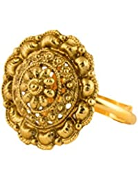 Bindhani® Traditional & Ethnic Gold Plated Finger Ring For Women (Adjustable, Golden Stone)