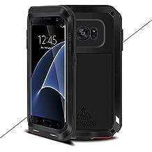 Samsung Galaxy S7 Edge Metal Etui - Love Mei Metal Etui Housse Coque Rigide Cover Verser Samsung Galaxy S7 Edge Noir