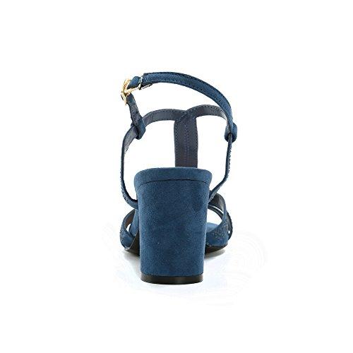 Alexis Leroy Damen Knöchelriemchen T-Spange Verzierte Sandalen mit Blockabsatz Blau