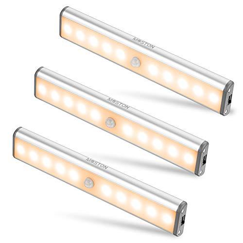MOSTON Schrankleuchten mit Bewegungsmelder 10 LED USB Wiederaufladbar Magnetisch Bewegungsmelder Nachtlicht LED,Auto/ON/OFF Geeignet für Schrank Kinderzimmer Flur Schlafzimmer Küche Treppe,Warmweiß