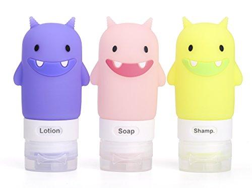 Silikon Reiseflaschen Set für Shampoo, Seife, Lotion (pink, grün, lila Monster) - Grün Lotionen