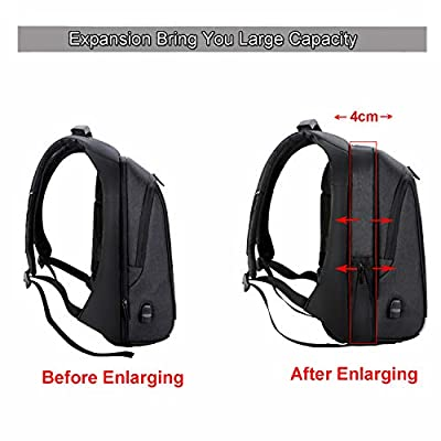 Xnuoyo Anti-Theft Travel Backpack TSA Friendly Expandable Business Laptop Rucksack with USB Charging Port Reflective Strip Water Resistant Daypack Fit inch Computer Notebook for Men Women