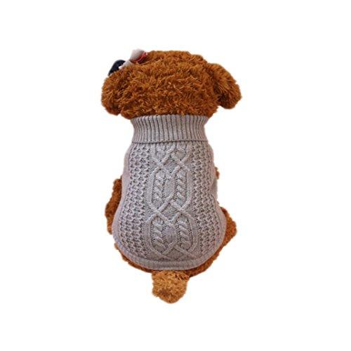 Hmeng Haustier Wolle Pullover für Winter, Solid Kapuzenpulli Kleidung Cute Puppy Hoodie Bekleidung Kostüm Mantel (XS, Grau)