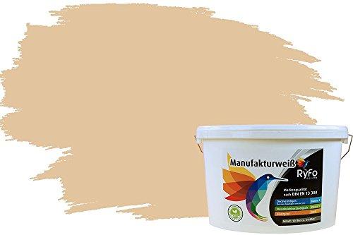 RyFo Colors Bunte Wandfarbe Manufakturweiß Bahamabeige 10l - weitere Braun Farbtöne und Größen erhältlich, Deckkraft Klasse 1, Nassabrieb Klasse 1