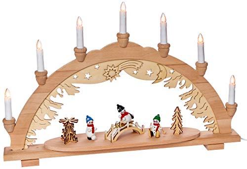 Unbekannt Sigro Vogtland Souvenir 7Flame Premium Holz Lichterbogen mit DREI Bunte Schneemann Figur/Brücke und Pyramide Fensteraufkleber, beige, 38x 57x 9cm