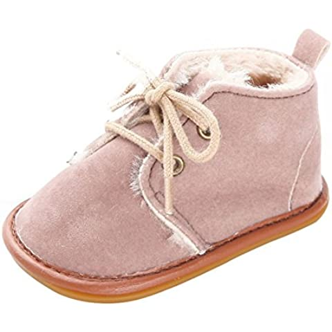 ROPALIA Infant Boy Girl Toddler Suede Leather Shoes Lace-Up Velvet Warm Boots