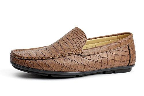 Albertini Uomo No Iron Modello Coccodrillo Slipper Ride Shoes Atletico Chic Stile Mocassino Gb Taglia Marrone Chiaro