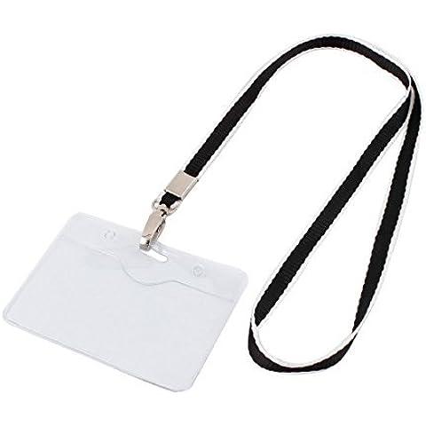 Posición plástico Horizontal cuerda de seguridad de la empresa Tarjeta Badge Holder Negro
