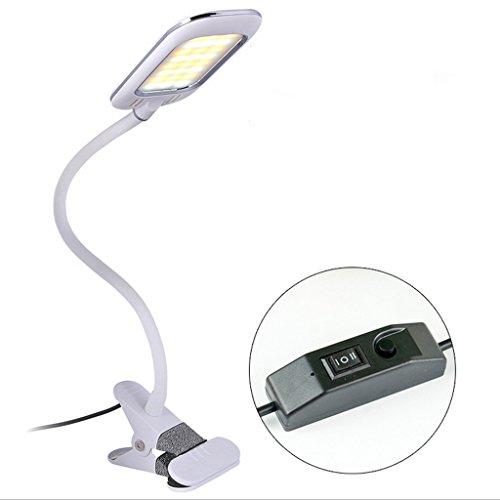 Kein Engel Boutique (LILY Clip-on Schreibtischlampe LED Dimmable Flexible Schwanenhals 3-Stufen Helligkeit Bed Light zum Lesen Studieren (Weiß 4000-5500K))