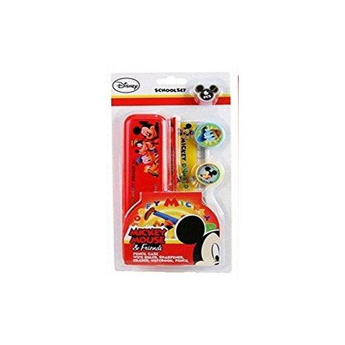 Disney 6-teiliges Schulset - Federmäppchen + Bleistift + Lineal (Mickey)