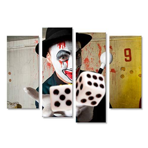 bilderfelix® Bild auf Leinwand Bluff, Scary böse Clown spielt mit Würfeln Wandbild, Poster, Leinwandbild ITJ-4erP