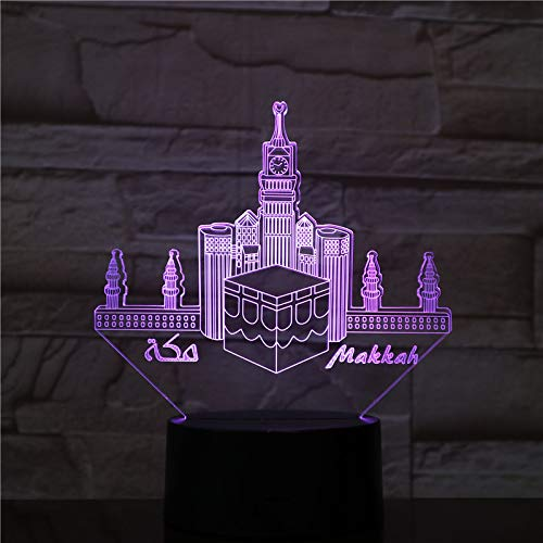 3d Nachtlicht Lampe,Usb 3D Led Nachtlicht Veilleuse Lampe Dekoration Kinder Baby Geschenk Berühmte Gebäude Tischlampe Nacht Neon