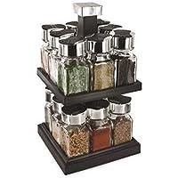 Saveur et Degustation KB5755 Carrousel à Epices Carré 2 Etages avec 16  Pots Couvercle Verre 04fd732bb272