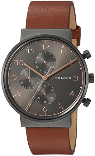 Skagen orologio cronografo quarzo uomo con cinturino in pelle skw6418